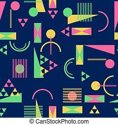 Seamless geometric pattern in retro 80s style