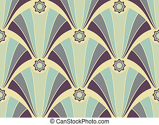 Seamless pattern with geometric violet ornament on the yellow background