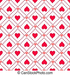 Seamless geometric pattern of hearts on a white background. Original ornament. Valentine s Day.
