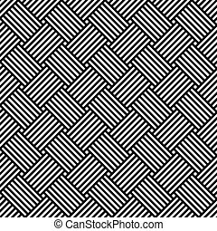 Seamless geometric pattern of white stripes on a black background.