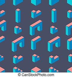 Seamless geometric pattern on a dark background.