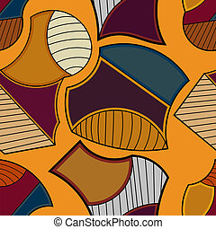 Seamless geometric pattern on an orange background