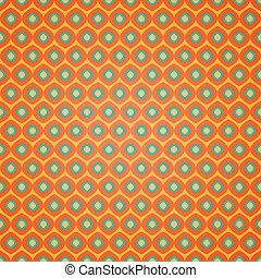Seamless geometric pattern on orange background