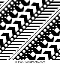 Seamless geometric pattern. Repeating ethnic ornamental design. Zigzag and stripe shapes line. Modern black and white texture