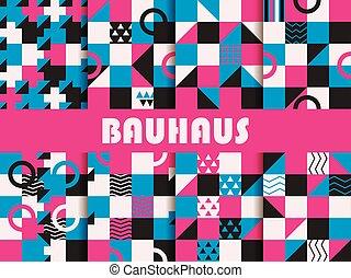 Seamless geometric pattern set. Bauhaus design. Background...