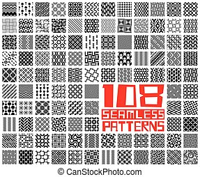 Seamless Geometric Pattern Set. Vector Monochrome...