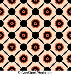 Seamless geometric pattern vector abstract background design of circles with orange spring summer flowers in them connected with black ellipse lines beige backdrop