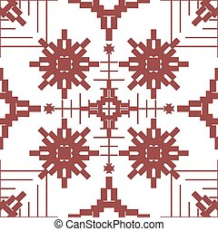 Seamless geometric pattern with embroidery elements -...