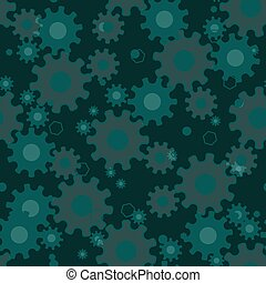 Seamless geometric pattern with gears, mechanical background, engineering design