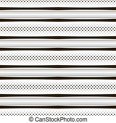 Abstract seamless geometric pattern with horizontal stripes and dots. Elegant laconic print in black, white and shades of gray colors for fabric, paper and other. Vector illustration