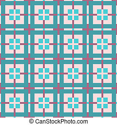 Seamless geometric pattern with squares, lines, rectangles Fabric print. Background in repeat.