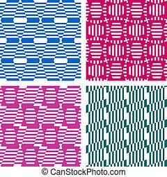 Seamless geometric patterns. Textures set. Vector art.