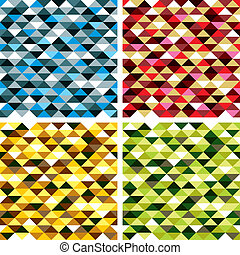 Seamless geometric patterns with colorful elements, vector...