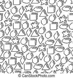 Seamless geometric shapes hand-drawn pattern. Black figures on white background. Elementary hand drawn geometric symbols.