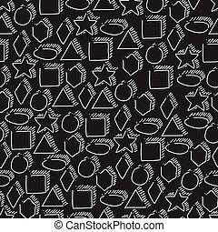 Seamless geometric shapes hand-drawn pattern. White figures on black background. Elementary hand drawn geometric symbols.