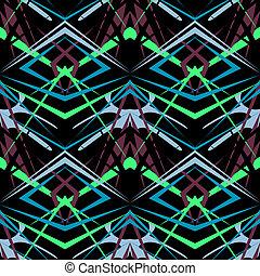 Seamless geometric texture pattern on black