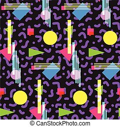 Seamless geometric vintage pattern in retro 80s style,...
