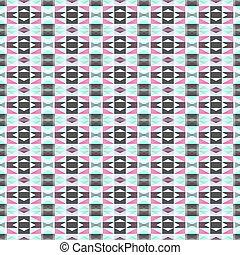 Seamless geometrical pattern in pink, white, green and dark grey