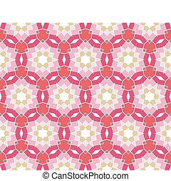 Seamless geometrical pattern with stars in pink, red, green,...