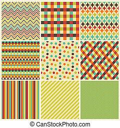 seamless, geometrico, hipster, fondo, set.