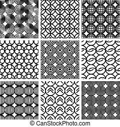 seamless, geometrische muster, set.