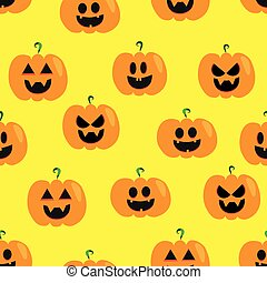 seamless, gesicht, halloweenkuerbis, pattern.