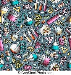 seamless, gezeichnet, muster, karikatur, wissenschaft, hand...