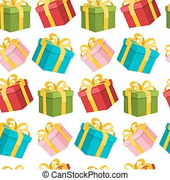 Seamless Gift Boxes Background. Wrapping Paper on Present Box. Retro Endless Pattern Suitable for Prints or Web Designs.