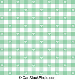Seamless Gingham and Hearts Pattern