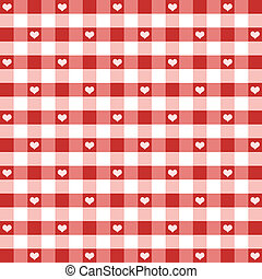 Seamless gingham pattern with hearts in Valentine Red for scrapbooks, albums, decorating. EPS includes pattern swatch that will seamlessly fill any shape.
