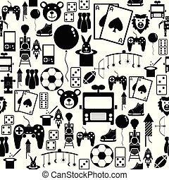 seamless, giocattolo, motivi dello sfondo, icon.