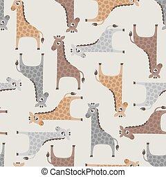seamless, giraffe, spotprent, model