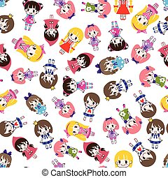 seamless girl pattern