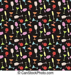 Seamless Glasses Party Time Pattern