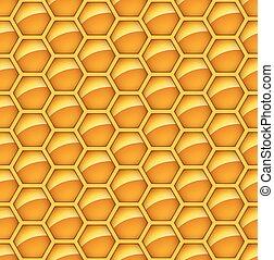 Seamless glossy orange honey comb vector background.