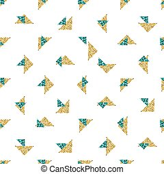 seamless gold and green triangle glitter pattern with white background