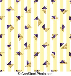 seamless gold and pulple triangle glitter pattern with yellow stripe background