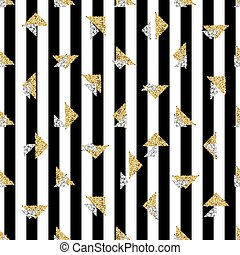 seamless gold and silver triangle glitter pattern with stripe background
