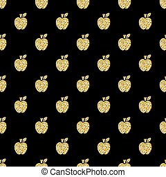 seamless gold apple glitter pattern on black background
