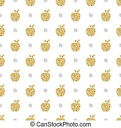 seamless gold apple with silver dot glitter pattern background