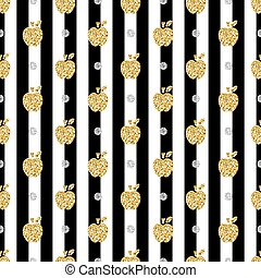 seamless gold apple with silver dot glitter pattern on stripe background.