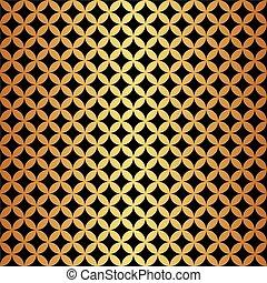 Seamless Gold & Black Circle Pattern