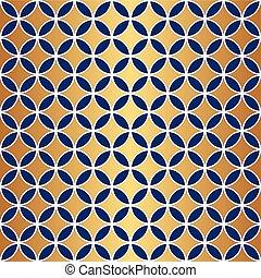 Seamless Gold & Blue Circle Pattern