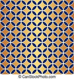 Seamless Gold & Blue Circle Pattern
