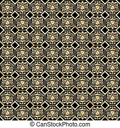 Seamless gold classic pattern on a black 2