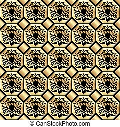 Seamless gold classic pattern on a black