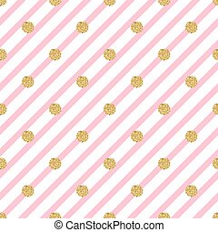 seamless gold dot glitter on pink stripe pattern background