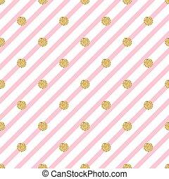 seamless gold dot glitter on pink stripe pattern background