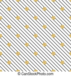 seamless gold dot glitter on white stripe pattern background