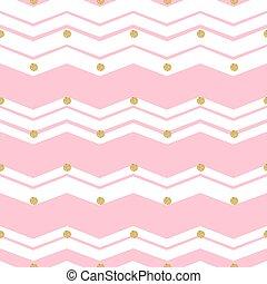 seamless gold dot glitter pattern on pink zigzag background